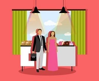 Smorgasbord concept vector illustration in flat style. Visitors man and woman standing near table with burgers, bakery and desserts. Restaurant interior.