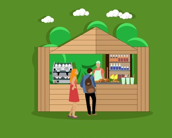 Street food concept vector illustration in flat style. Young man and woman standing near food stall in park.